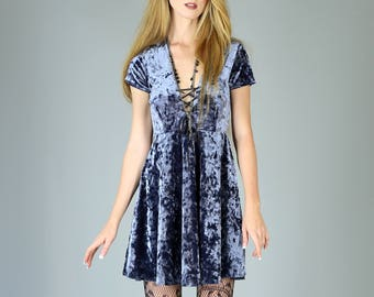Corset Neck Crushed Velvet Babydoll dress, Slate Blue Gray