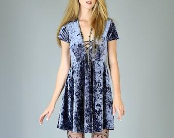 Corset Neck Crushed Velvet Babydoll dress, Slate Blue Gray