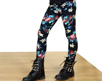 SALE !!!!!Kids/Girls Grunge  Floral Leggings...Super soft and cute