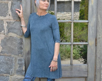 Blue Vintage Wash 3/4 Sleeve Grommet detailed Fit and Flair Dress.