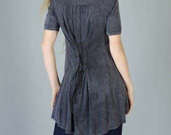 Corset Back Cotton Jersey Tunic, Vintage Charcoal