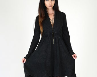 Long Sleeve Grecian Goddess Pocket Dress - Solid Black