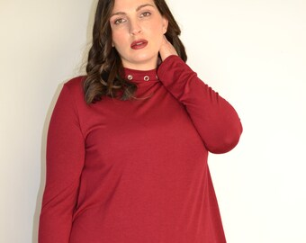 PLUS SIZE Ultra Soft Wine Red Grommet neck Long Sleeve Top