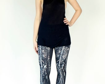 Grunge Black & White Skeleton Printed Leggings