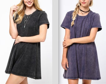 Fit & Flair Acid Washed Cotton T-shirt Dress