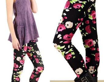 Painted Rose 90's - Grunge Floral Printed Leggings, Soft Grunge, Pastel Grunge - Printed Leggings