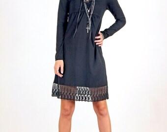 Lace Hem Long Sleeve Cotton Jersey Dress