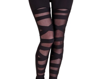 Black Mesh Bondage Leggings