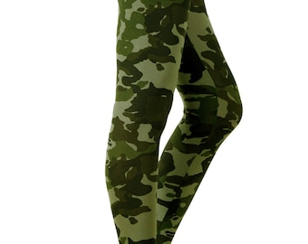 PLUS SIZE Grunge Army Camo Printed Leggings