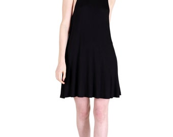 SALE! Ultra Soft Black Jersey Fit and Flair Swing Dress