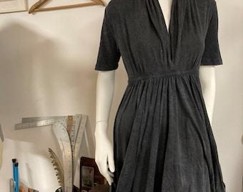 Grecian Goddess Pocket Dress - Black acid wash
