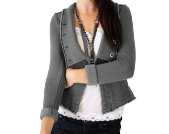 SALE - 90s Shrunken Fleece Blazer, Gray