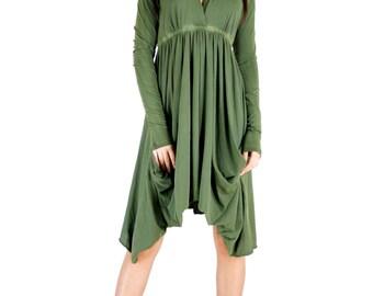 Olive Long Sleeve Grecian Goddess Pocket Dress