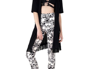 Black and Ivory Skull Catacomb Printed Leggings - One Size