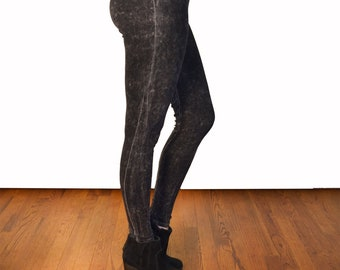 Black Acid Wash Yoga Leggings