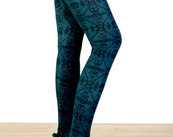 SALE - Black and Dark Teal Skull and Scroll Printed Leggings