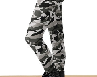 SALE! Grunge Gray Camo Printed Leggings - PLUS Size TOO!!