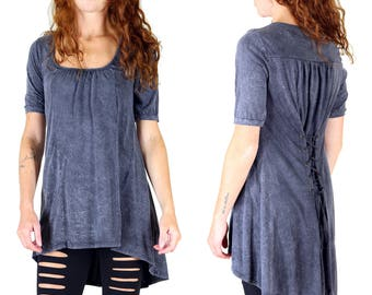 Charcoal Corset Back Cotton Jersey Tunic