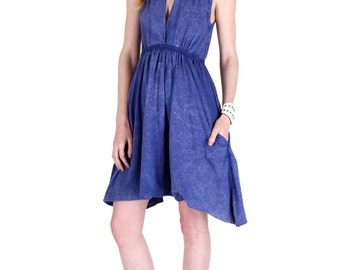 Grecian Goddess Pocket Dress - Vintage Blue