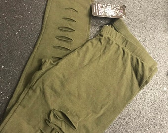 SALE !!!!Green Ripped front   Stretch Cotton Leggings