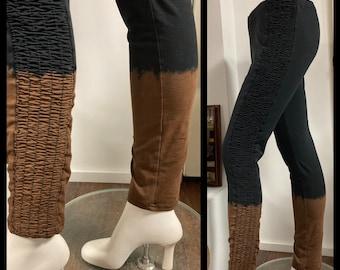 Black dye reversal bleached bottom Leggings ,with Smocked Side Panel