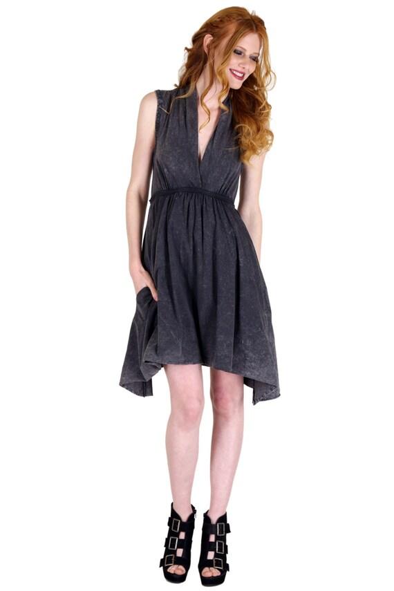 Grecian Goddess Pocket Dress Vintage Black Etsy