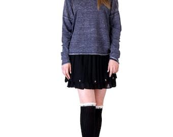 Studded Lace Trim Boot Socks