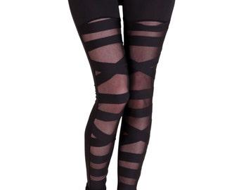 Black Mesh Bondage Leggings