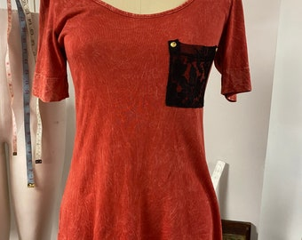 Red Acid Wash Tunic Top with lace pocket size small