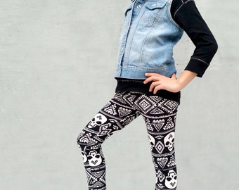 Girls/Kids Skull Printed Leggings for Riot Grrrls, Punk and Goth Kids