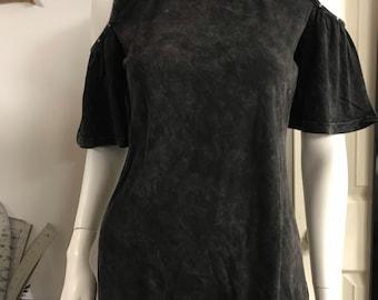 Black Acid Wash Top with studded cold shoulder