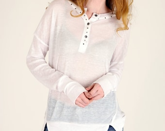 Thermal Knit Burnout Oversized Henley Top