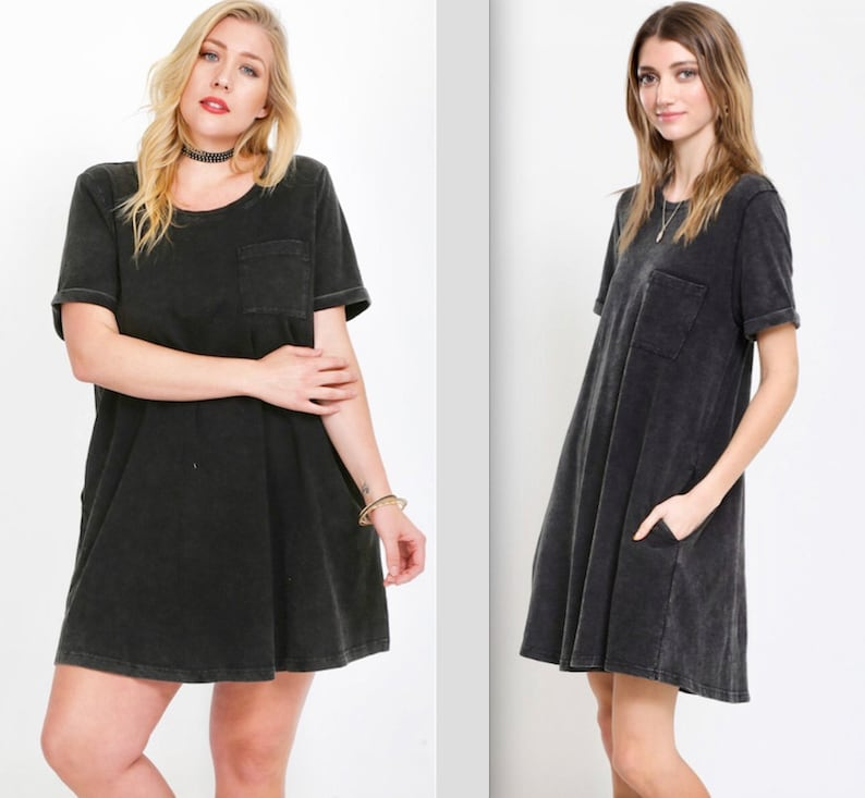 PLUS SIZE TOO!! Fit & Flair Acid Washed Cotton Pocket Dress