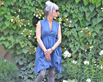 Grecian Goddess Pocket Dress - Vintage Blue