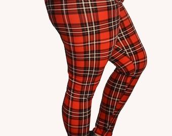 PLUS SIZE Red Grunge Plaid Leggings