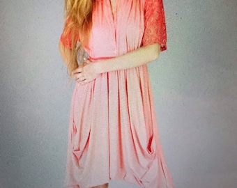 Lace Sleeve Pastel Goth Goddess Pocket Dress
