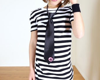 Punk Rock Kids' Stripe T-shirt Tunic with Tie and Pin
