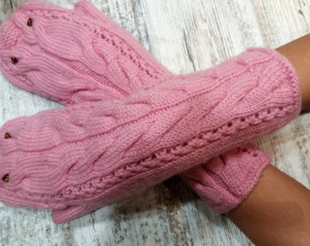 Handmade Gloves Knit Mittens Womens Warmers Gloves Knitted