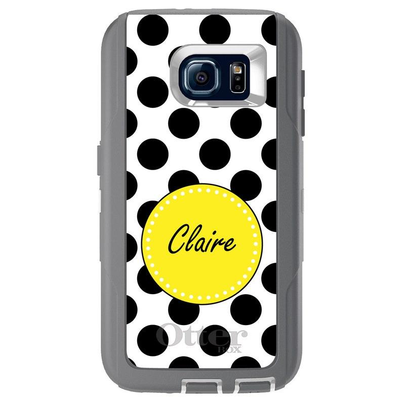 Custom OtterBox Defender for Galaxy S  Galaxy Note Choose Model Black Yellow White Polka Dots
