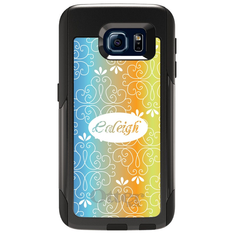 Choose Model Blue Orange Yellow Floral Name - CUSTOM Monogram OtterBox Commuter for Samsung Galaxy S  Galaxy Note