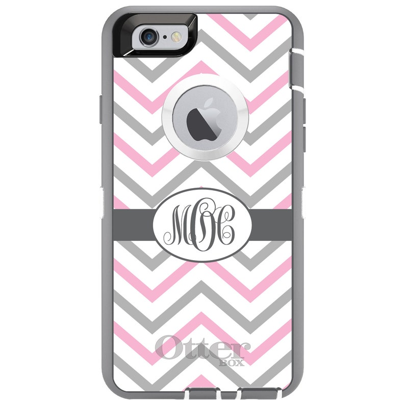 Chevron OtterBox Defender  Apple iPhone Choose Model Pink Gray Ribbon  Custom Personalized Monogrammed  Any Color  Any Font