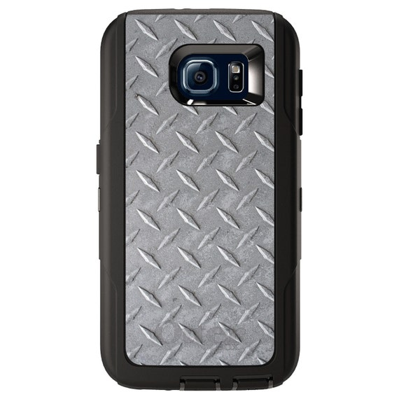 Any Colors Gray Faux Diamond Plate Steel - Custom Monogram Choose Model OtterBox Commuter for Apple iPhone