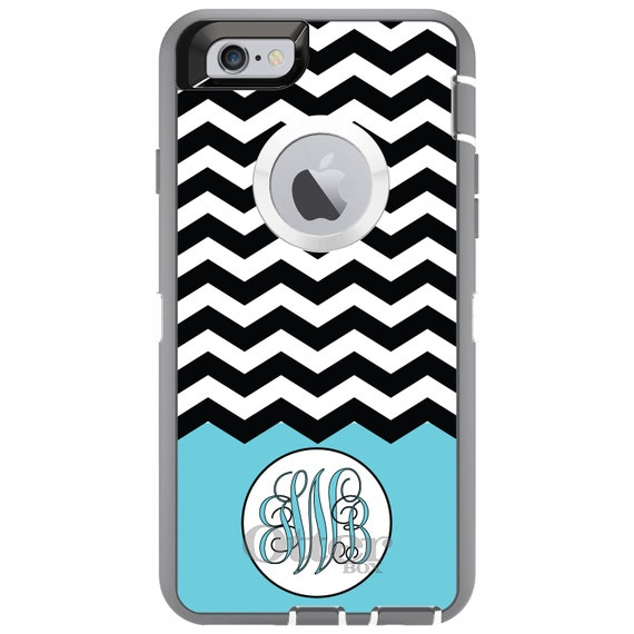 - Custom Monogram or Image OtterBox Commuter for Apple iPhone Choose Model Light Gray White Chevron Initials