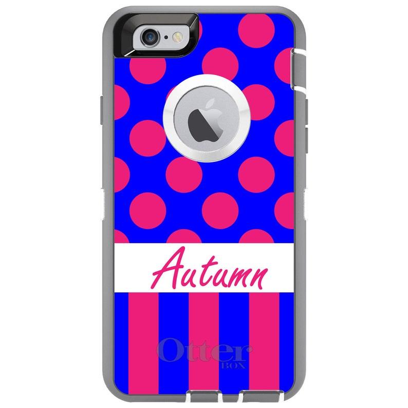 - Personalized Monogram CUSTOM OtterBox Defender Case for Apple iPhone Choose Model Pink Blue Polka Dots Stripes