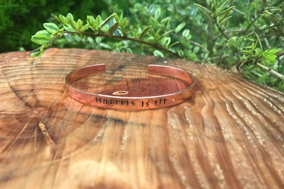 Norse Destiny is all Elder Futhark large size Viking runic hand stamped cuff Uhtred runic alphabet Viking copper bracelet mens 7