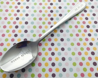 Hand Stamped dessert spoon, Perosnalised, custom, your message, pudding, cereal, personalized, your text, yum, pudding, spoon me, cereal