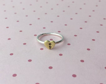 stacked sterling silver ring, with brass heart and semicolon, hand stamped, hand made, custom, made to order, semi colon, stacking ring