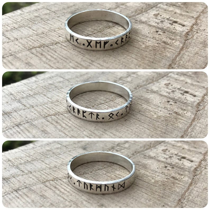 jewellery personalized custom size your message hand stamped your words Elder Futhark,norse viking runic sterling silver ring