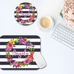 Personalized Mouse Pad and Coaster Set | Floral with Stripes Mouse Pad | Desk and Office Decor | Monogrammed Mouse Pad | Women Desk Set
