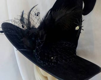 0dec73978ea Witch hat Swarovski spider Halloween costume black hat with rose wicked  harry potter fancy dress designer fascinator Wizard oz witches party